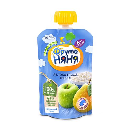 Пюре из яблок и груш с творогом без сахара