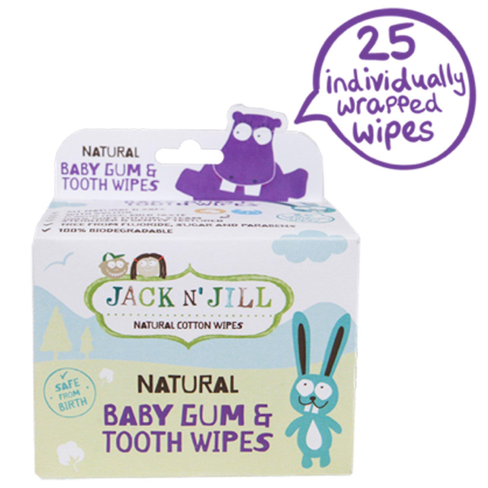 Jack n' Jill, Натуральные влажные салфетки для десен и зубов младенца, 25 салфеток в индивидуальных упаковках