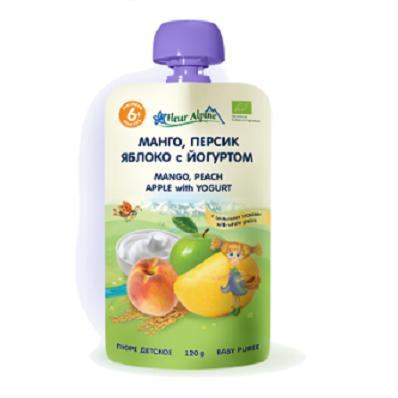 Fleur Alpine детское фруктово-молочное пюре «Манго, персик, яблоко с йогуртом» 120 гр