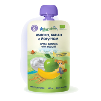 Fleur Alpine детское фруктово-молочное пюре «Яблоко, банан с йогуртом», 120 г