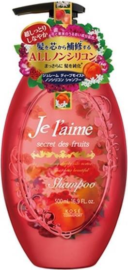 """Шампунь для сухих и окрашенных волос с абрикосовым маслом """"Глубокое увлажнение"""" KOSE COSMEPORT """"Je l'aime"""" без силикона, фруктово-цветочный аромат, диспенсер 500 мл"""