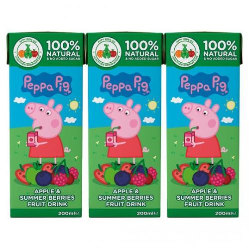 Свинка Пепа сок из яблока и ягод 100% 3х200мл,натуральный без добавления