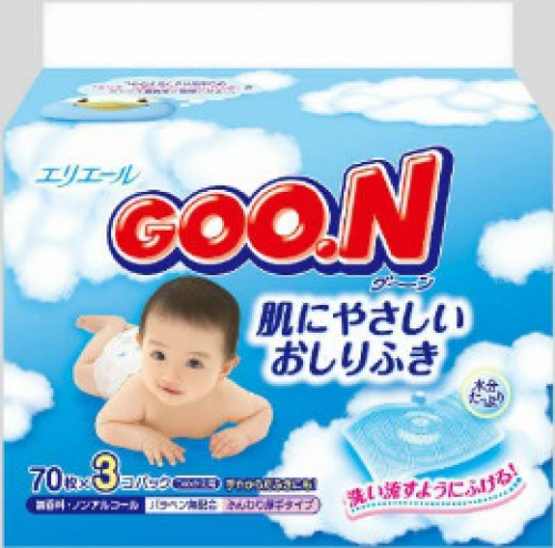 Детские влажные салфетки GOON/мягкая упаковка/3x70шт