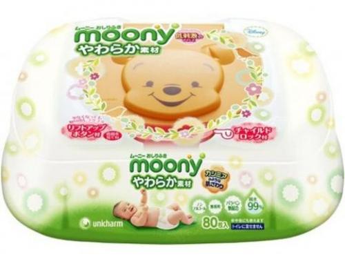 Детские влажные салфетки Moony в футляре  80шт