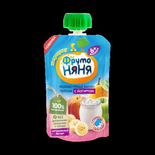 Пюре в пауче «Яблоко груша банан персик йогурт»