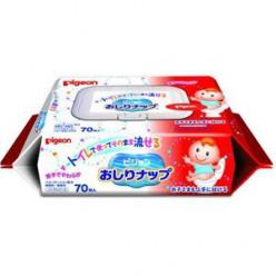 Детские влажные гигиенические салфетки для туалета/растворимые в воде/мягкая упаковка с клапаном, 150х190 мм, 70 шт/Pigeon