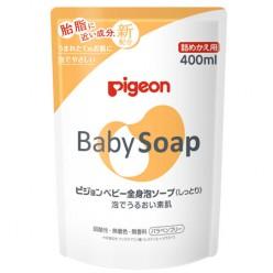 Мыло-пенка для тела с рождения увлажняющее — сменный блок (Pigeon Japan), 400 мл