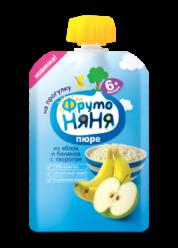 Пюре яблочно-банановое с творогом